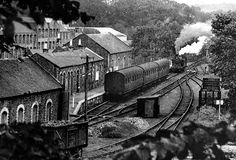 Penicuik engine shed c. The siding on the left goes under the bridge to serve Bank paper mill. Grey Wallpaper Iphone, Model Railway Track Plans, Old Train Station, Disused Stations, Steam Railway, British Rail, Rolling Stock, Old London, Train Layouts