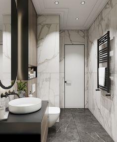 bathroom on Behance New Bathroom Designs, Bathroom Design Inspiration, Bathroom Design Luxury, Bathroom Layout, Modern Bathroom Design, Small Toilet Room, Small Bathroom, Bedroom Lamps Design, Black Tile Bathrooms