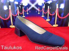$145 Womens shoes VIA SPIGA Pumps ITALY Low Heels Canvas NAVY BLUE Cap Toe 7 M