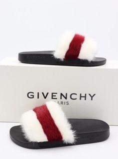 122bbcf0367e NIB GIVENCHY Stripe Mink Fur White Red Slide Sandals Flats New 6 36  625   Givenchy
