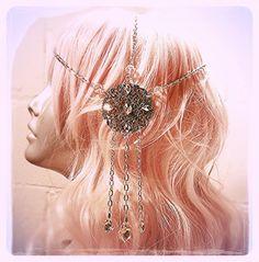 Pastel Goth Crystal Mucha Art Nouveau Headdress by ravenevejewelry