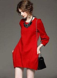 Cotton Solid 1029507/1029507 Sleeves Above Knee Casual Dresses (1029507) @ floryday.com