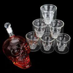 Wine Decanter Set, Whiskey Decanter, Whiskey Glasses, Glass Bottles, Wine Glass, Skull Shot Glass, Glass Material, Crystal Skull, Shot Glasses