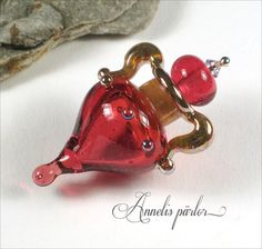 LAMPWORK glass bead HANDMADE vessel amphora pendant by Annelibeads