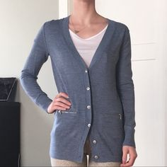 Banana Republic Light Blue Merino Wool Cardigan Boyfriend-style cardigan by Banana Republic. Light blue color (gray-ish hue) with silver metal buttons and zipper details. 100% fine merino wool. Banana Republic Sweaters Cardigans