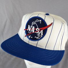 ca17443023ee2 NASA Pinstripe Snap Back Hat Ball Cap Space Center Made in USA Big Patch  Embrdry