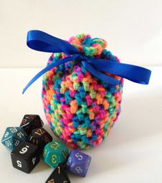 Hey, I found this really awesome Etsy listing at https://www.etsy.com/listing/103388257/rainbow-dice-bag-small-crochet-bag-small
