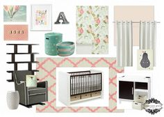 Tied with a Bow {girl nursery}, pink, aqua and grey girl nursery design, floral wallpaper, hot air balloon, modern crib and changer