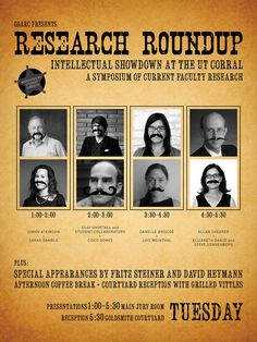 Students from the Graduate School of Architecture Representative Council had a little fun when designing their Research Roundup poster in November 2012. This student-moderated symposium highlighted current faculty research #lecture #symposia #event #poster #utaustin #utsoa