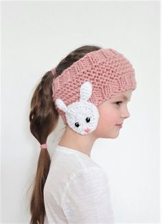 Hand knitted headband- ear warmer with crochet BEAR appliques for Kids, Teens and Women. Choose your size and color using drop- down menu. Available sizes: Toddler- Child- Teen/Women Small- Women Large- Available colors: Pink Blue Red Headband Pattern, Knitted Headband, Knitted Hats, Cat Headband, Hand Knitting, Knitting Patterns, Crochet Patterns, Winter Accessories, Girls Accessories