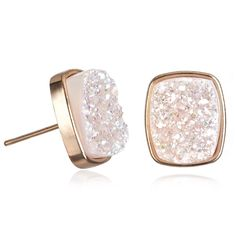Halo Druzy Rose Gold Studs