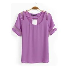 Purple Short Sleeve Contrast Mesh Yoke Chiffon T-Shirt ($22) ❤ liked on Polyvore featuring tops, t-shirts, sheinside, mesh tee, purple t shirt, purple top, purple chiffon top and chiffon tee