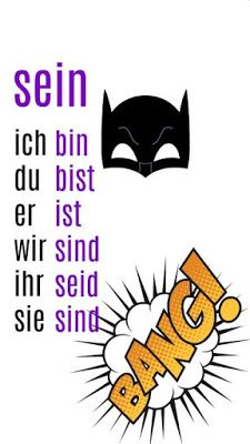 sein = to be german verb phone wallpaper Study German, German Wall, German English, Learn English, Learn French, German Grammar, German Words, Learning Websites For Kids, German Resources
