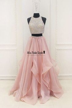 Sexy Blush Organza Pink Beaded Two Pieces Prom Dress