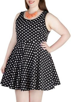 Something to Dot About Dress in Black - Plus Size, #ModCloth  IN LOVE WITH THIS DRESS!!!  COMFY AND SUPER CUTE!!!