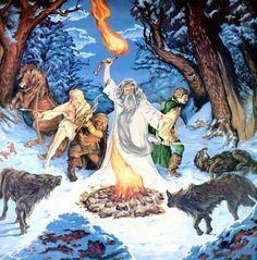 Aragorn, Legolas, Gimli and Gandalf fight against wolves