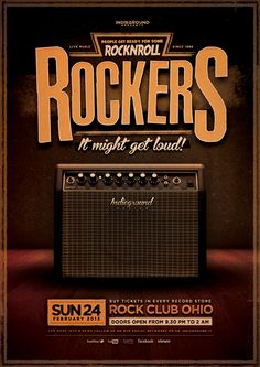 "Buy Rock Flyer/Poster by indieground on GraphicRiver. Rock Flyer/Poster Template ""Rockers – It Might Get Loud"" – This flyer was designed to promote a Rock / Alternat. Bike Illustration, Business Illustration, Free Flyer Templates, Print Templates, Poster Templates, Design Templates, Hard Rock Music, Pop Rock, Behance"