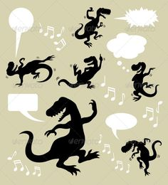 Dinosaur Dancing Silhouettes  #GraphicRiver         Dinosaur in action silhouette with blank speech bubbles and musical symbols. Good use for your web symbol, logo, sticker design, wallpaper, or any design you want. Easy to edit or change color.   ZIP included : AI rgb, EPS8, CDR coreldraw (vector files = can use any size you want without loss resolution, you can open or edit with Adobe Illustrator or any support vector program), JPEG high resolution, PNG transparent, and PSD photoshop…