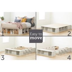 South Shore Furniture Avilla Storage Bed with Baskets, Winter Oak and Rattan Diy Storage Bed, Bed Frame With Storage, Diy Bed Frame, Diy Queen Bed Frame, Storage Baskets, Storage Spaces, Platform Bed With Storage, Diy Platform Bed, Bedroom Furniture