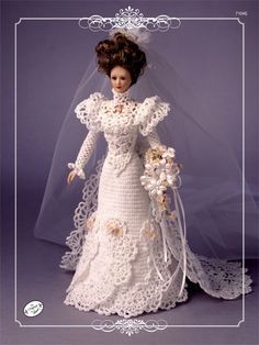 Crochet - Doll Patterns - Doll Clothes Patterns - Bridal Trousseau Bride Doll