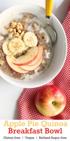 Nutritionicity | Recipe: Apple Pie Quinoa Breakfast Bowl, a five-minute comfort food for your body and belly! Nothing says warm and cozy like a bowl of hot cereal laced with sweet apples, cinnamon and brown sugar. This gluten-free, vegan, and refined sugar-free quinoa bowl floods your body with nutrients while warming your soul! Recipe at http://www.nutritionicity.com/recipes/recipe-apple-pie-quinoa-breakfast-bowl-gluten-free-vegan-plant-based-refined-sugar-free/
