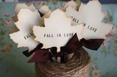 Fall In Love Cupcake Toppers- Vintage Leaf- Vintage Wedding- Rustic Wedding- Leaf Toppers- Set of 12. $14.50, via Etsy.