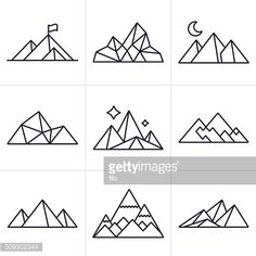 Mountain and line drawing symbol and icon collection. EPS 10 file.