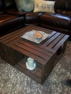 Coffee table made from four crates.