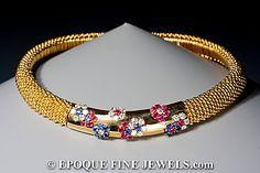 Van Cleef & Arpels - Un rubí hermoso, zafiro y collar de diamantes 'cuscús',