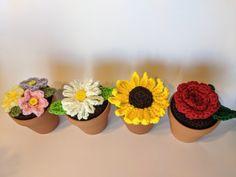 Crochet Puff Flower Potted Crochet Flowers – To Craft A Home Crochet Fairy, Crochet Puff Flower, Crochet Flower Patterns, Knitting Patterns Free, Free Pattern, Crochet Pot Leaf, Crochet Cactus, Crochet Leaves, Yarn Flowers