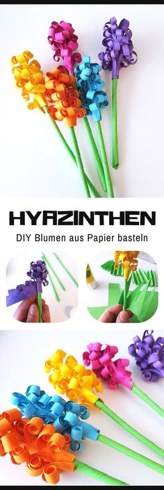 Tinker paper hyacinths: DIY flowers for spring A nice craft idea for spring is paper hyacinths. In my DIY instructions I show step-by-step how to make a hyacinth bouquet. of flowers basteln dekoration garten hintergrundbilder garden photography roses Pot Mason Diy, Mason Jar Crafts, Large Paper Flowers, Diy Flowers, Spring Flowers, Flower From Paper, Flores Diy, Diy For Kids, Crafts For Kids