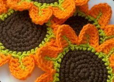 Orange Petal Flower Crochet♪ ♪ ... #inspiration_crochet #diy GB