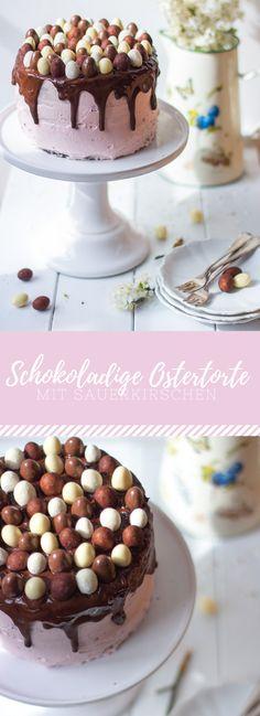 Schokoladige Ostertorte mit Sauerkirschen