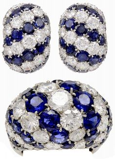 Van Cleef and Arpels. An earring and ring combination in pale platinum is sweetened with the deep blue sapphires and brilliant round diamonds. These Van Cleef and Arpels sapphire and diamond earrings are ring set are truly one of a kind.