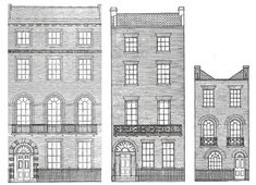 Georgian-era British townhouses came in four rates: first, second, third, and fourth (1, 2 and 4 shown here).  First rate townhouses were the largest, the most expensive, and opened onto the most prominent streets - things progressed downwards from there.  However, what rate a house a person lived in depended more upon income than social class: it was not unknown for wealthy merchants and professionals to live in the same kind of townhouse as an aristocrat who had one as a city residence.