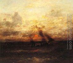 Fishing Boat in Stormy Seas Jules Dupre | Oil Painting ...