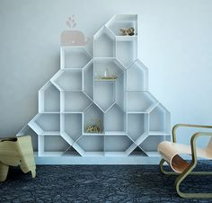 Citybook M by mrlessandmrsmore: Modular bookcase whose sheet iron units are linked by magnets. #Bookcase
