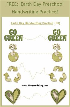 Help your preschooler improve their motor skills and writing skills within this fun handwriting printable! This is also a great way to discuss upcoming Earth Day and how your child can do her (or his) Handwriting Analysis, Handwriting Worksheets, Handwriting Practice, Preschool Themes, Preschool Classroom, Preschool Activities, Preschool Art, Earth Day Activities, Holiday Activities