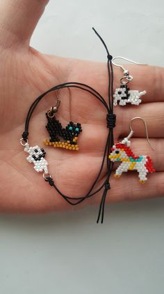 My work. Miyuki beads. small cat. Hourse. Elephant. Small animals. Minik hayvan figürleri ile küpe bileklik