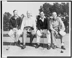 President Dwight D. Eisenhower (second from left) poses with golf greats Byron Nelson (from left) and Ben Hogan and Masters tournament chairman Clifford Roberts, 1953. Miscellaneous Items in High Demand Collection, Library of Congress Prints and Photographs Division.