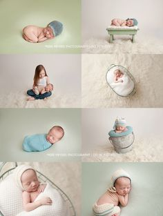 """Say """"hello"""" to Maximus!This little cutie came into the photography studio when he was 12 days new. He is baby #2 and blessed with an older sister (who couldn't wait to hold her new baby brother for pictures :) ).For Maximus' session our color palette included greens, creams and a touch of…"""