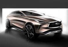 Making its global premiere at the 2017 North American International Auto Show in Detroit, the Infiniti Concept is said to showcase the brand's vision for a next-generation mid-size premium SUV. Maserati, Bugatti, Car Design Sketch, Car Sketch, Design Cars, Sketch Drawing, Kia Soul, Rolls Royce, New Infiniti