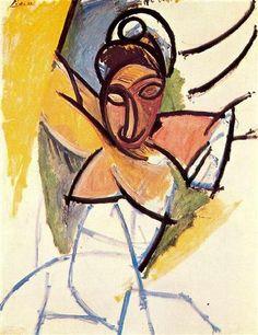 A girl from Avignon, Pablo Picasso, 1907. Cubism, Naïve Art (Primitivism).