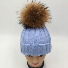 e0815353945 Children girl real fur raccoon pompon knit hat cap winter warm crochet  beanie with fur pom