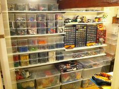 My basement LEGO room. Info: the plastic boxes are from IKEA with loose lids but easy stackable. Lego Studios, Kids Den, Lego Wall, Lego Builder, Lego For Kids, Lego Room, Lego Storage, Lego Projects, Cool Lego