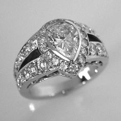 Pear Shaped Diamond Engagement Ring from Oliver Smith Jeweler.