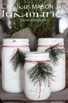Mason jar luminaries - adorable and easy Christmas decor via http://maisondepax.com #diy #holiday #decoration