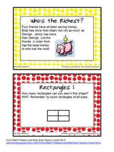 FREEBIE Math Brain Teasers - The kids love having their brains teased!