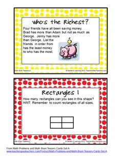 FREEBIE Math Brain Teasers - The kids love having their brains teased!