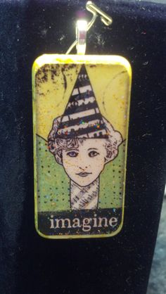 Pendant - Altered Art Domino with Girl